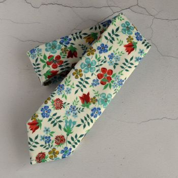 Liberty print tie - Edenham red and blue