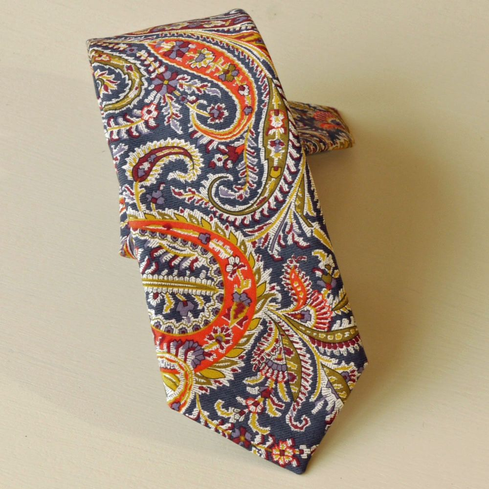 Liberty paisley tie - Felix and Isabelle blue and orange