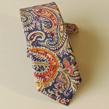 Felix & Isabelle blue and orange paisley tie made from Liberty fabric
