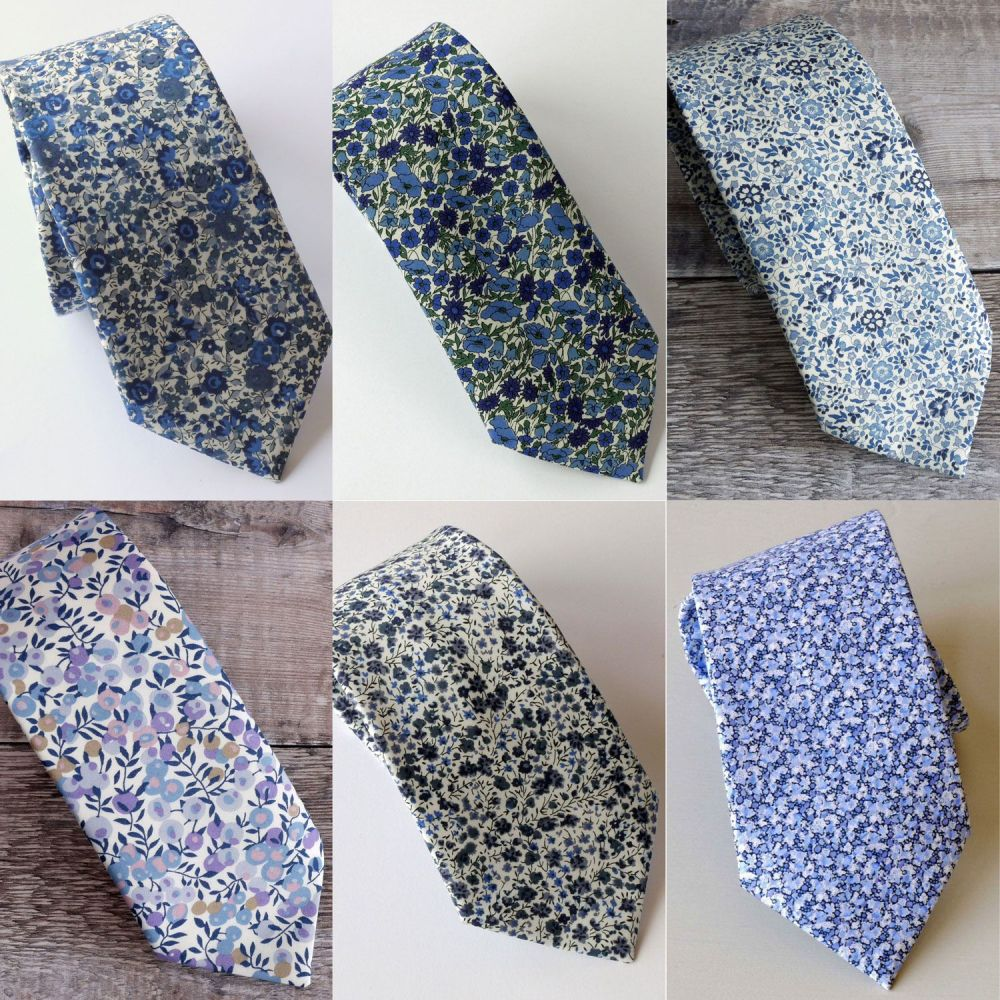 Custom order for 1 tie Pepper blue, and 7 ties Katie and Millie blue