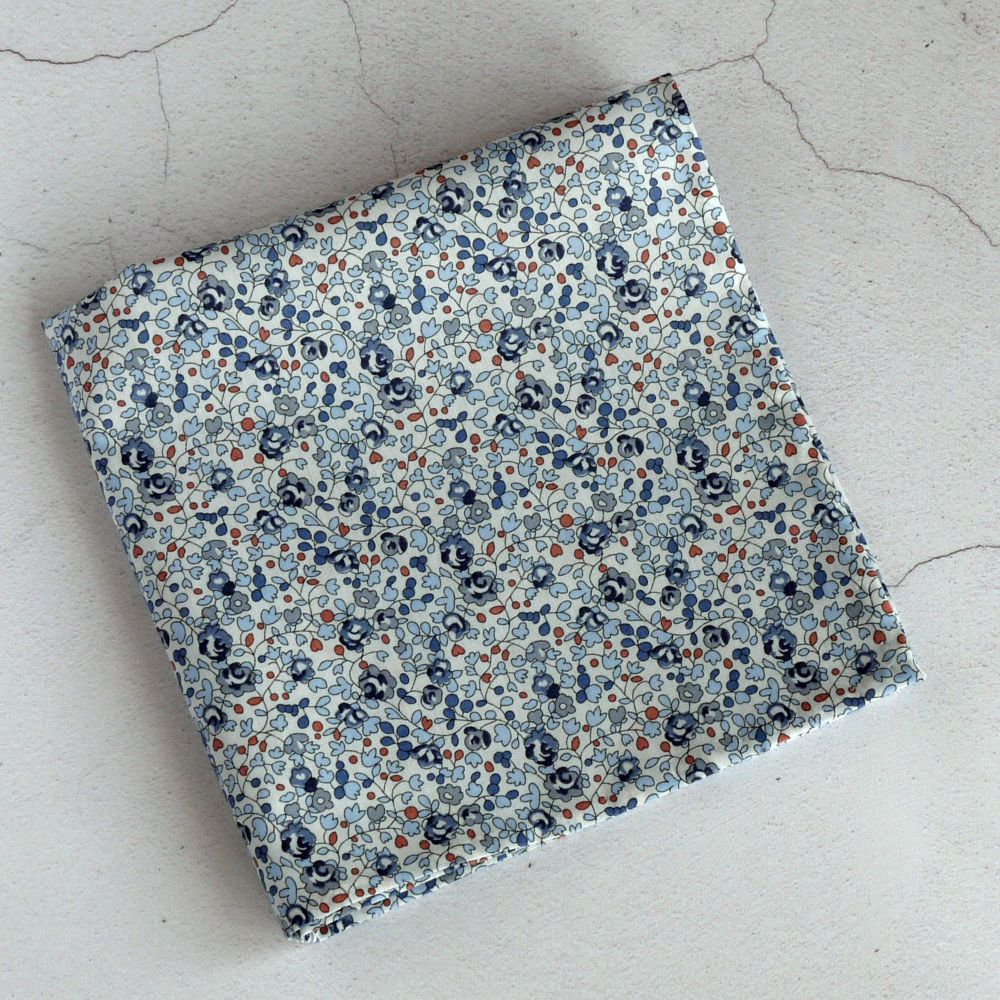 Floral pocket square - Liberty tana lawn Eloise blue