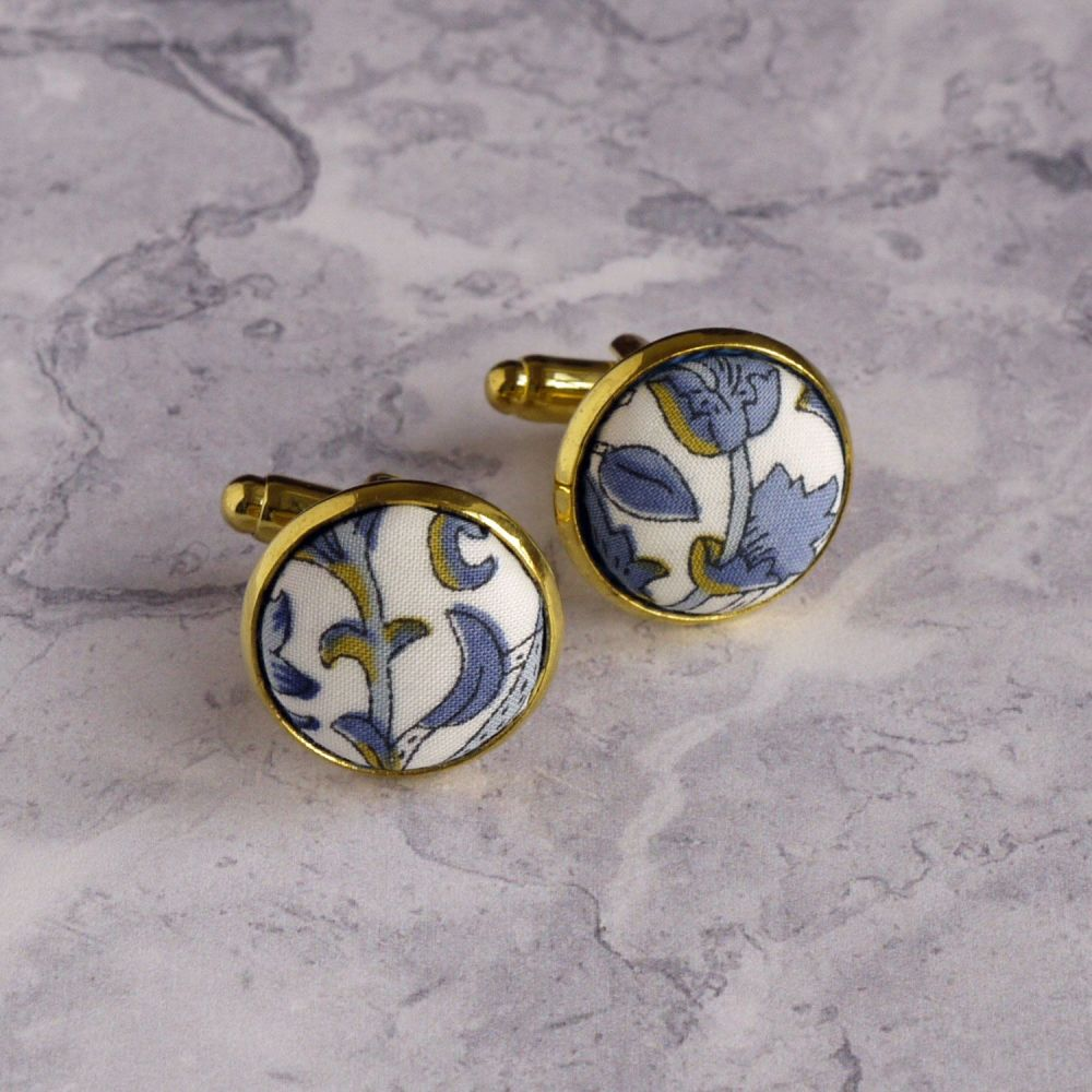 Liberty design Lodden cufflinks - Lodden blue and gold