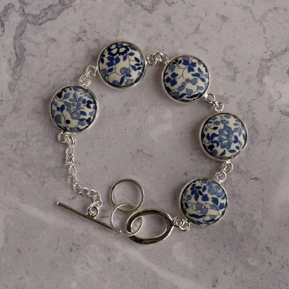 Katie & Millie blue Liberty print bracelet