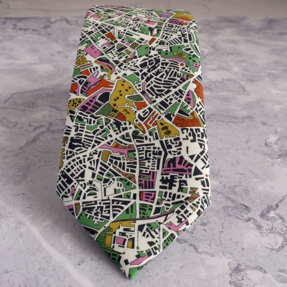 Map design Liberty print tana lawn tie - London Fields