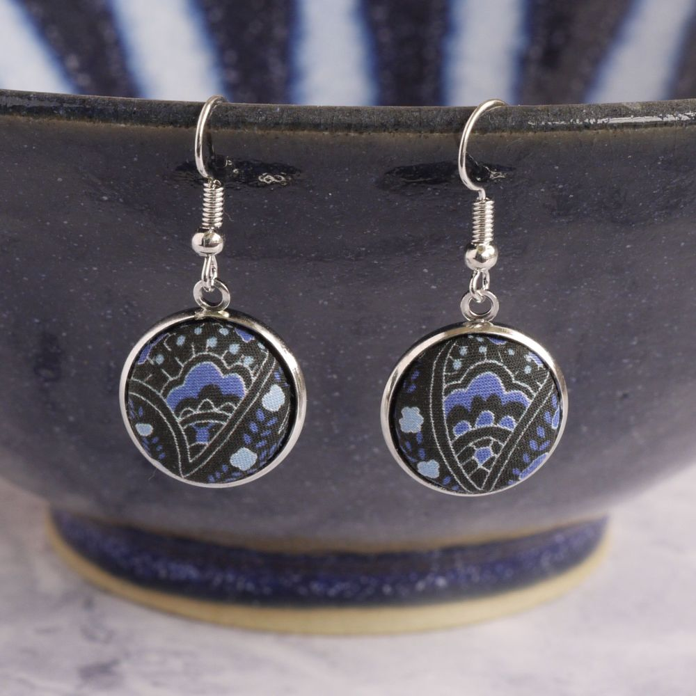 Liberty print earrings - Arthur Stewart blue