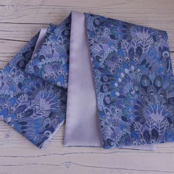 Eben blue and lilac scarf made with Liberty fabric
