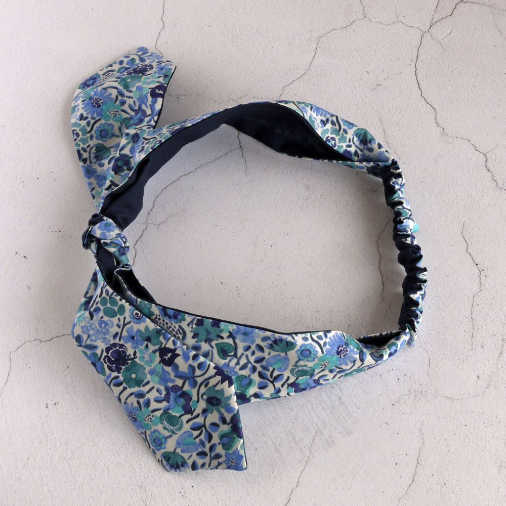 Liberty of London fabric top knot hairband - Kaylie Sunshine blue