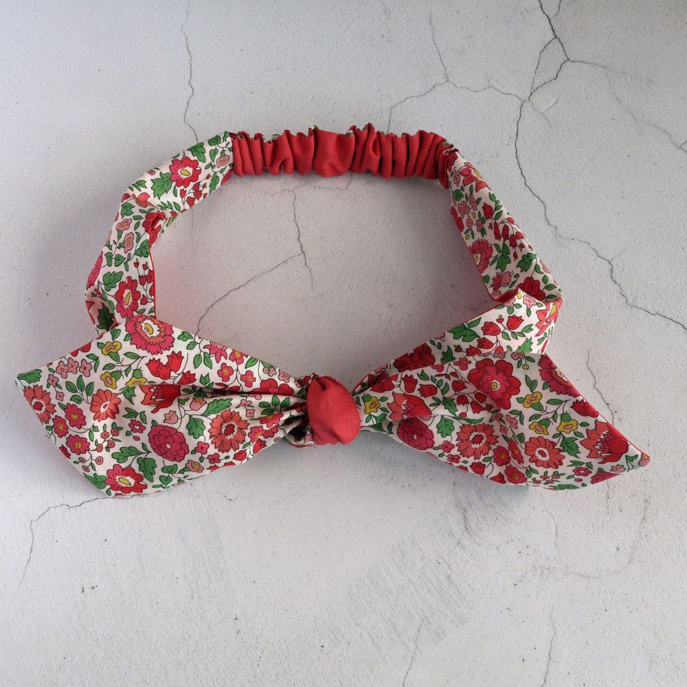 Liberty of London fabric top knot hairband - D'Anjo red