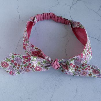 Liberty of London fabric top knot hairband - D'Anjo pink