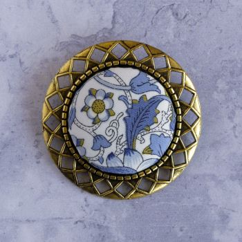 Liberty print brooch - Lodden blue and gold