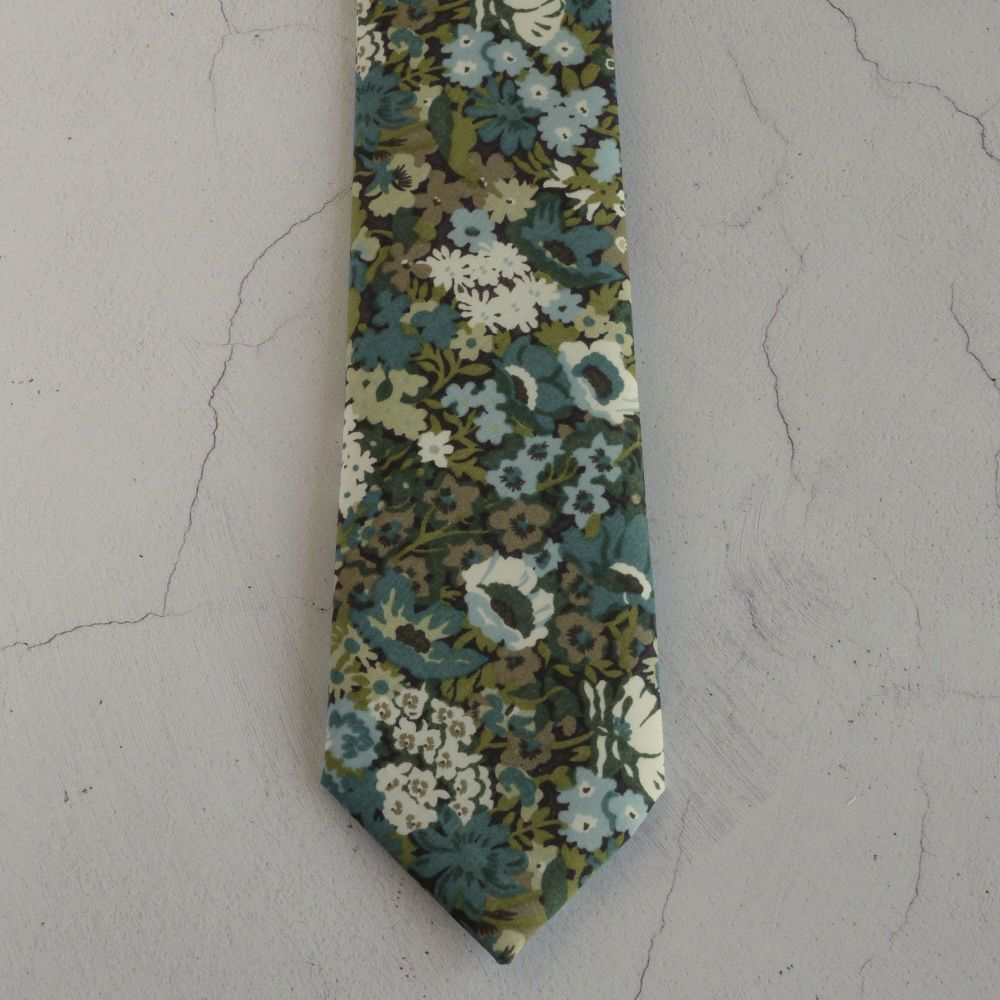 Floral Liberty print tie - Thorpe blue green