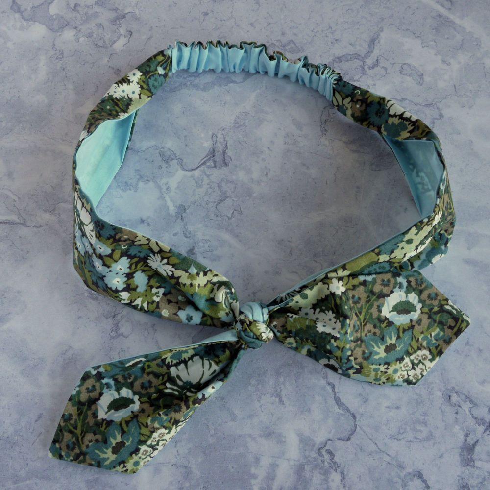 Liberty of London fabric top knot hairband - Thorpe blue green