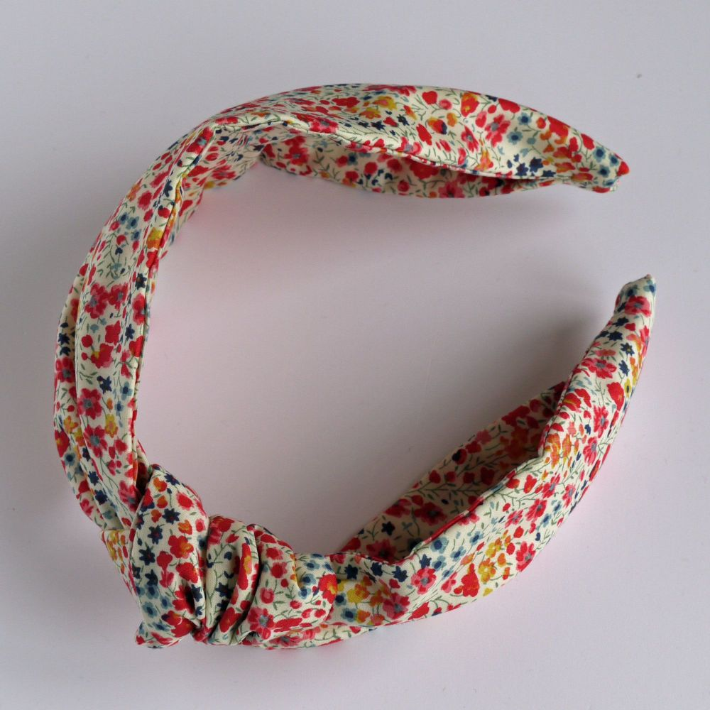 Liberty of London fabric hairband - Phoebe coral knot