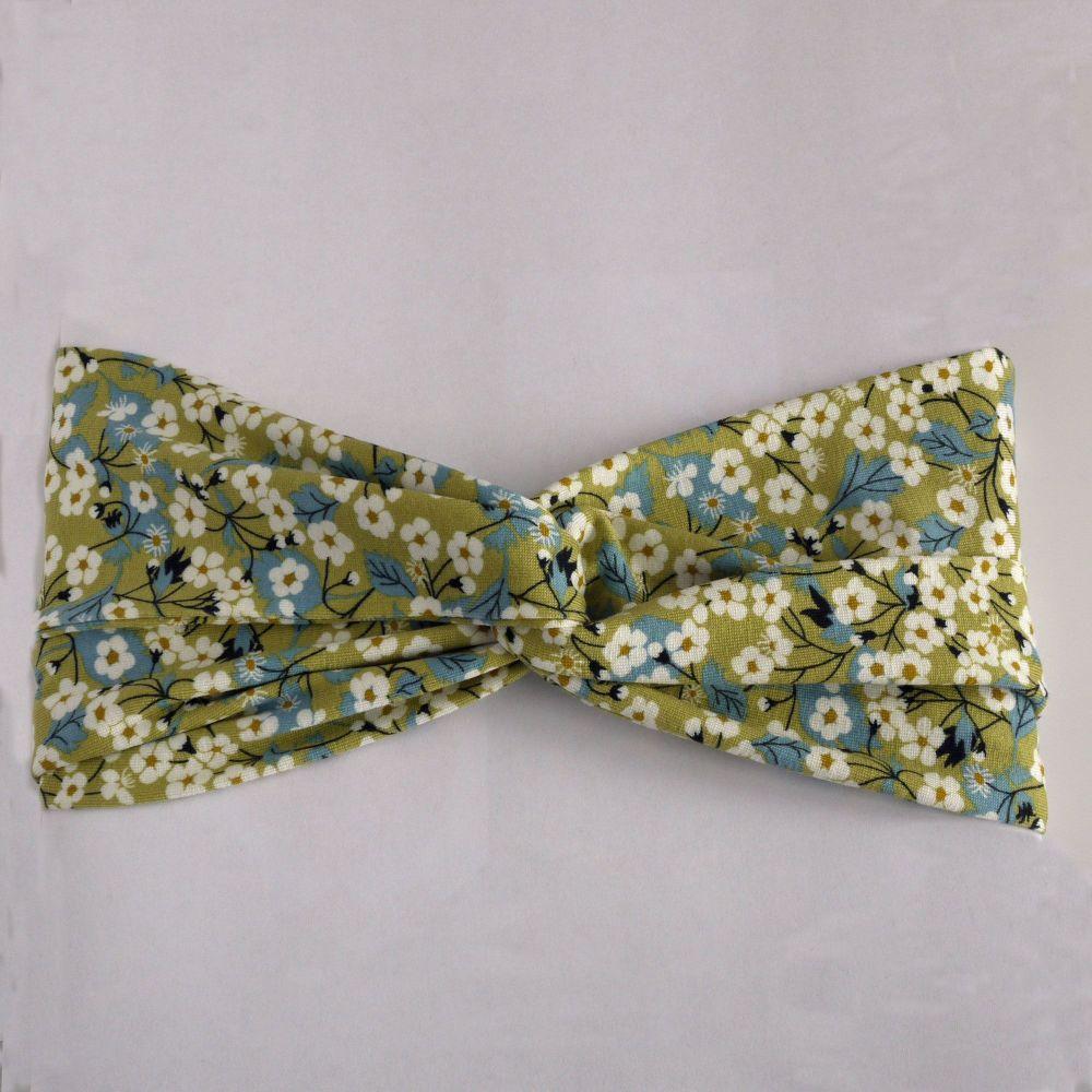 Liberty of London jersey fabric turban twist hairband - Mitsi green