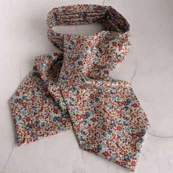 Brown and blue cravat made from Liberty's Emma and Georgina fabric