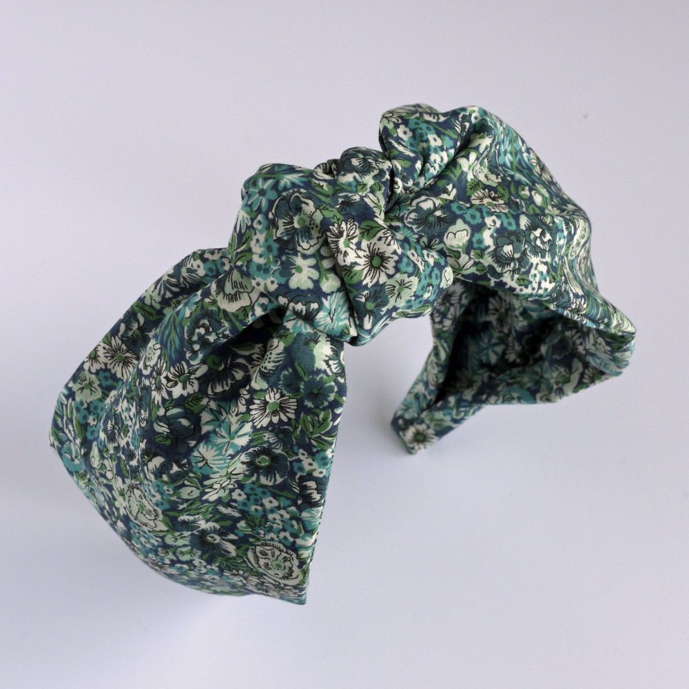 Liberty of London fabric hairband - Chive green knot