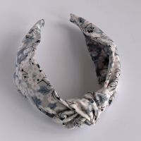 Floral Liberty print hairband - Mitsi grey knot