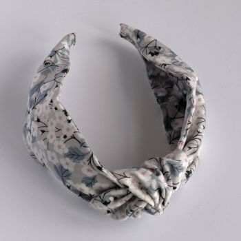 Floral Liberty print hairband - Mitsi grey knot