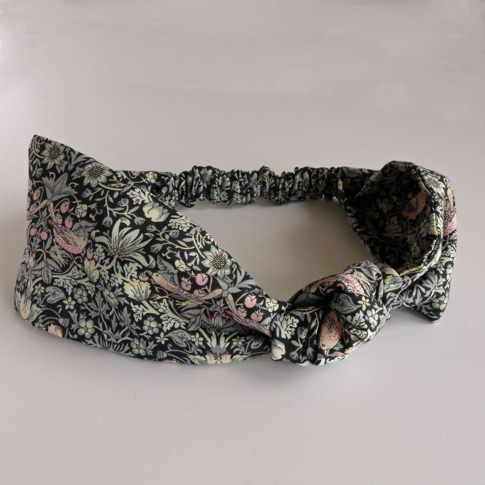 Liberty of London fabric hairband - Strawberry Thief black