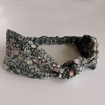 Liberty of London fabric hairband - Strawberry Thief black