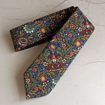 Floral Liberty print tie - Peach Porter navy