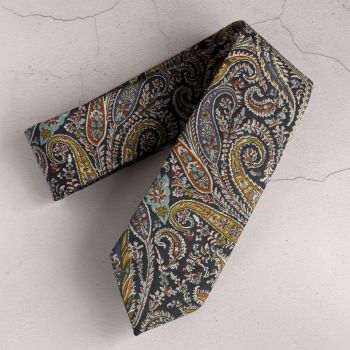 Gentleman's hand-stitched paisley tie - Felix and Isabelle brown blue