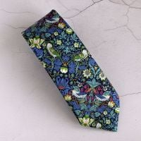 Gentleman's hand stitched tie - Strawberry Thief blue