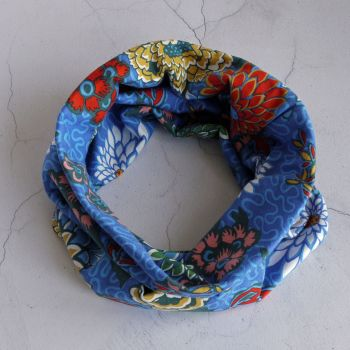 Jersey circle scarf - Meandering Chrysanthemums - made fron Liberty fabric