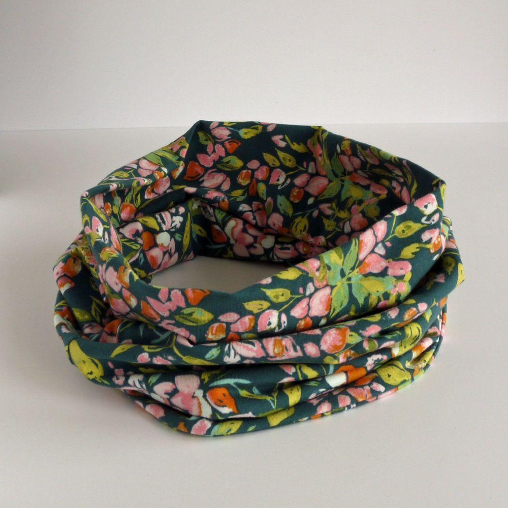 Jersey circle scarf - Bougainvillea Evergreen