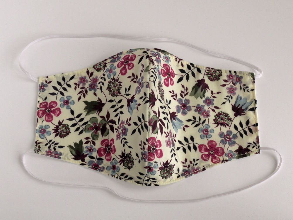 Floral Liberty lawn washable facemask - Edenham purple