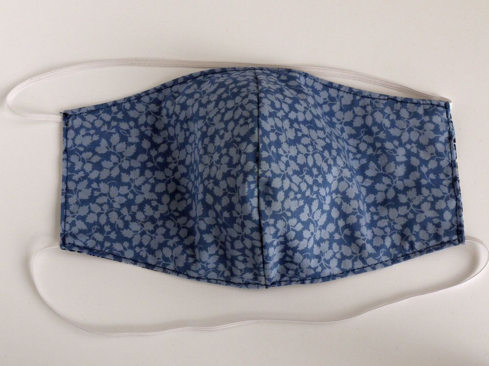 Liberty lawn re-usable washable facemask - Glenjade blue