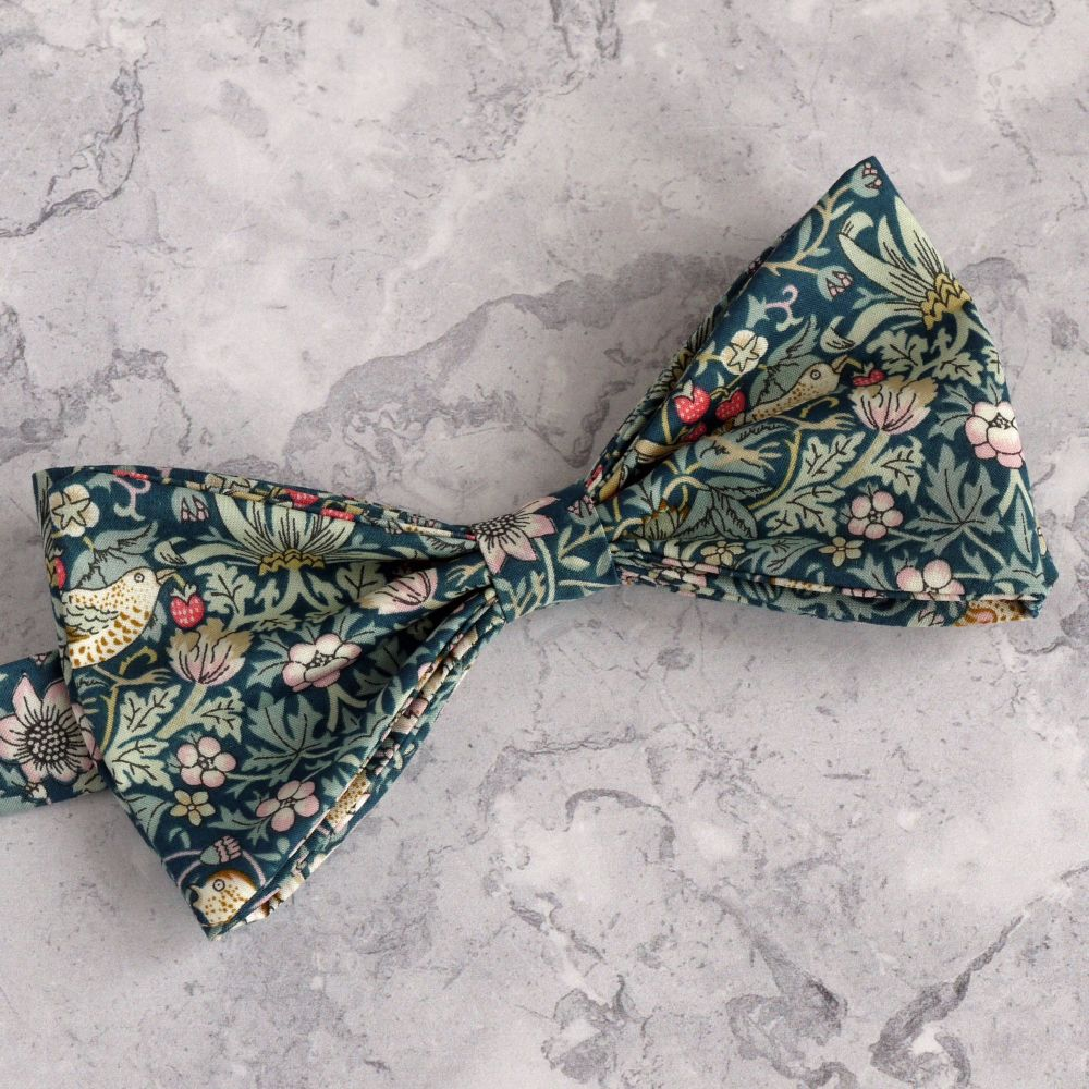 Strawberry Thief green bow tie made with Liberty fabric