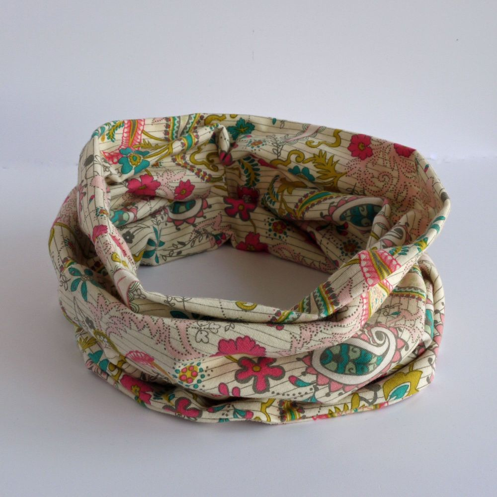 Jersey circle scarf - Paisleys Forever Rosa