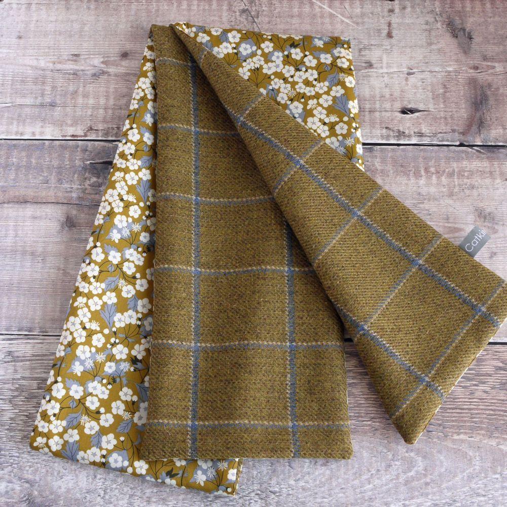 Mustard check tweed and Liberty Mitsi scarf