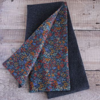 Blue donegal tweed and Liberty Virginia Meadow scarf