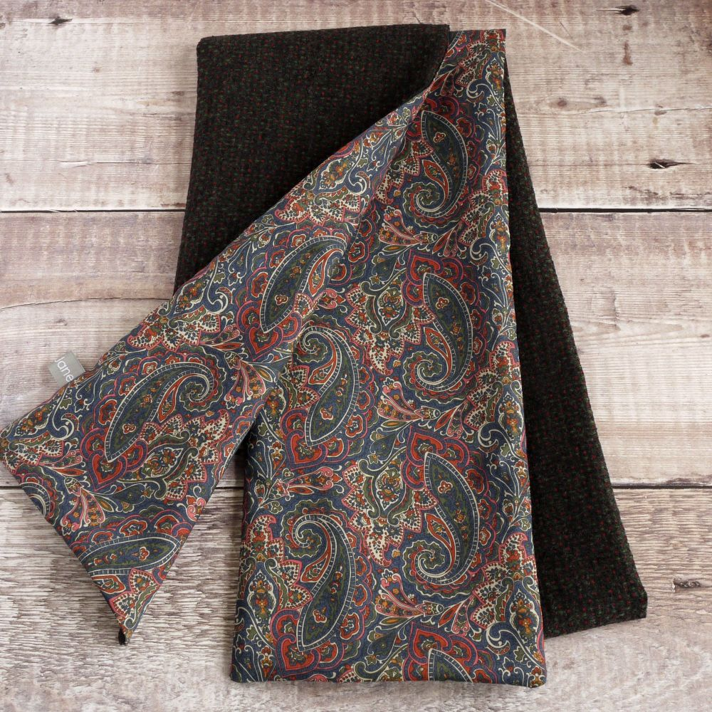 Wool with Liberty paisley lawn scarf