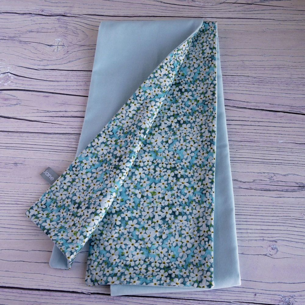 Duck egg blue velveteen and Liberty Petal Wish scarf