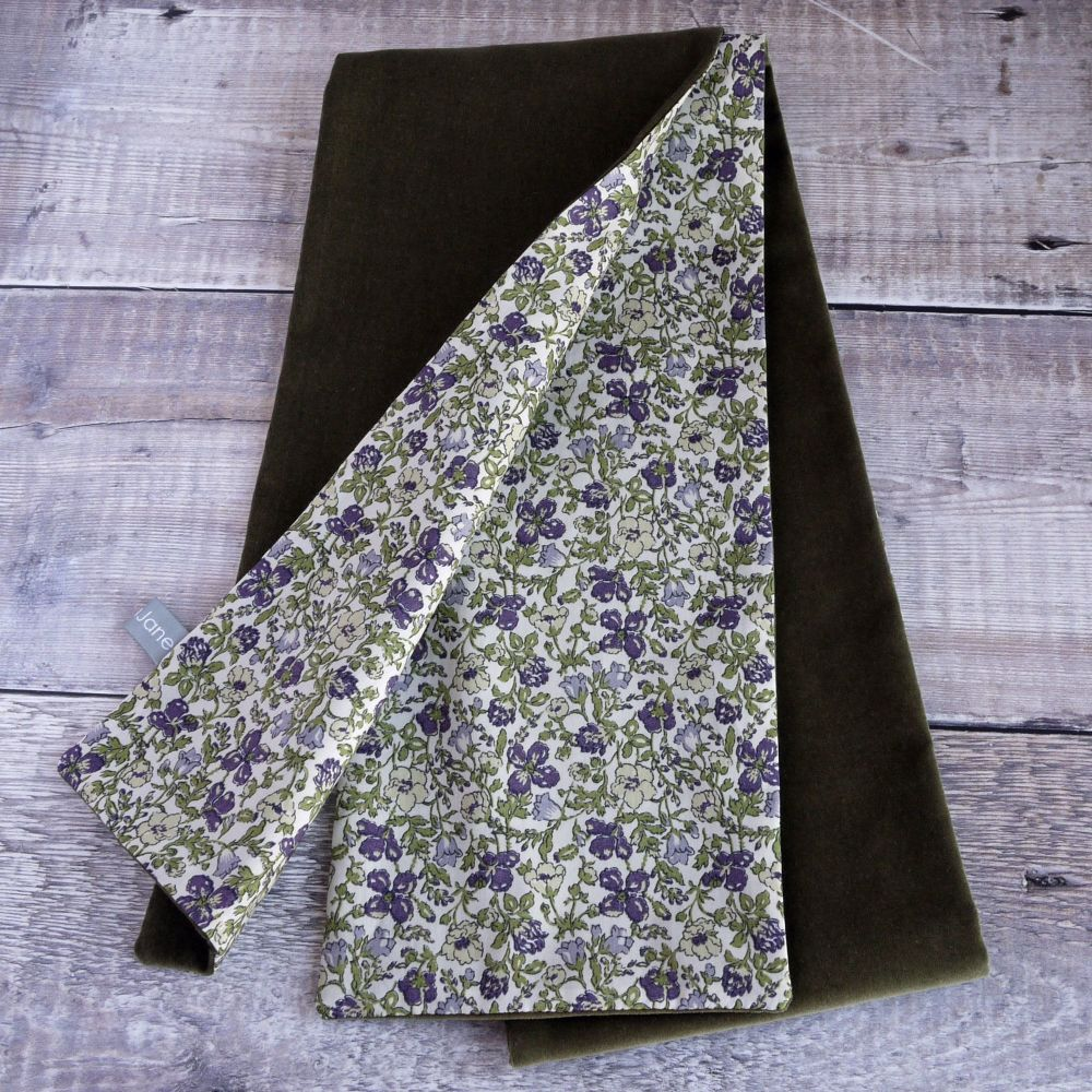 Olive velveteen and Liberty Meadow scarf