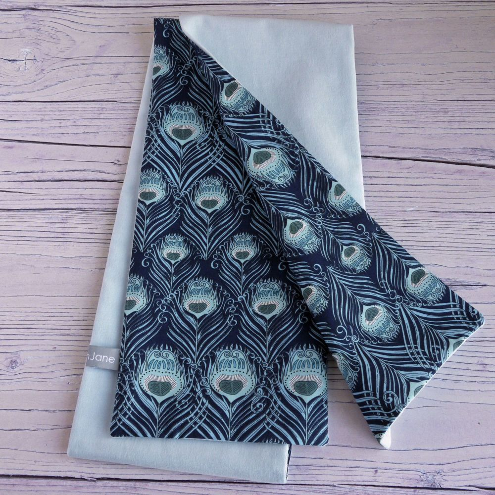 Duck egg blue velveteen and Liberty Caesar scarf