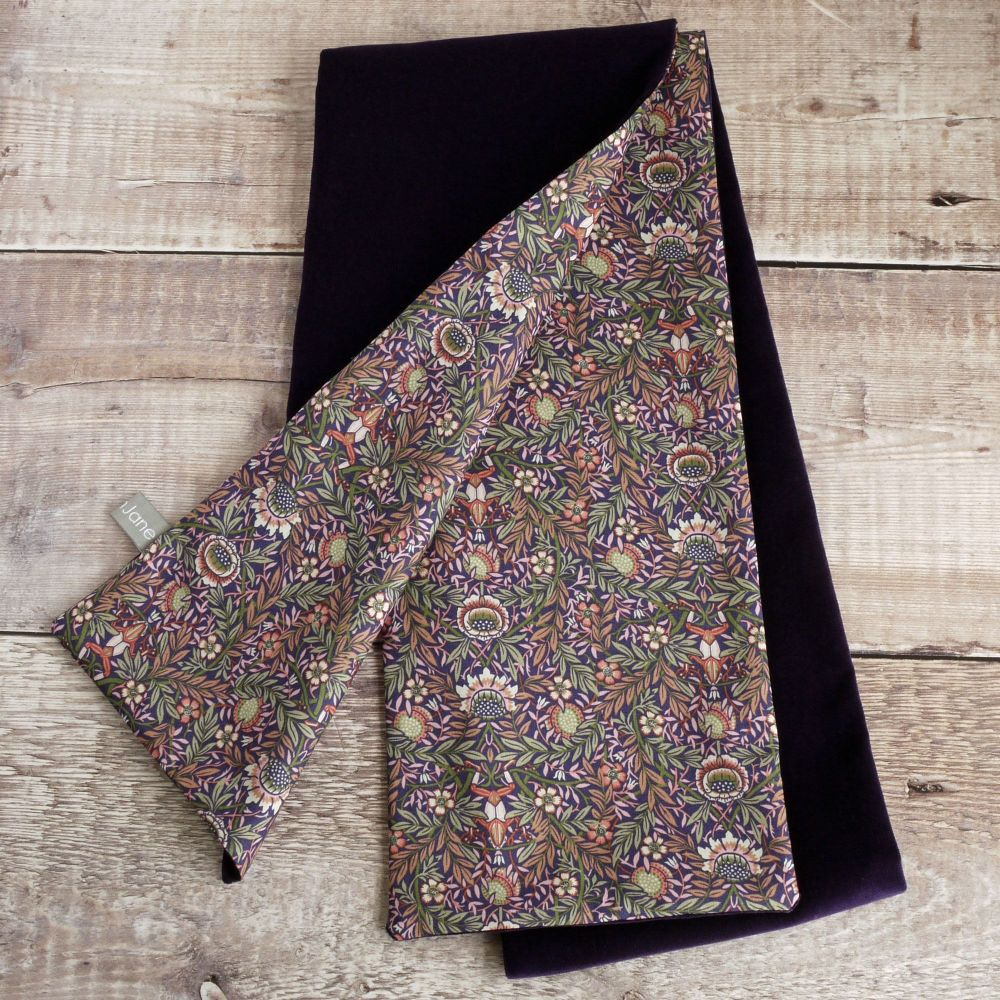 Purple velveteen  and Liberty Peach Porter scarf