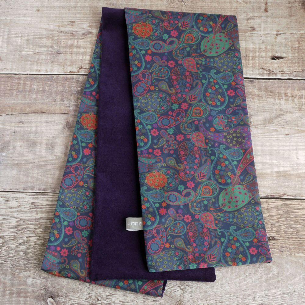 Purple velveteen and Liberty paisley scarf