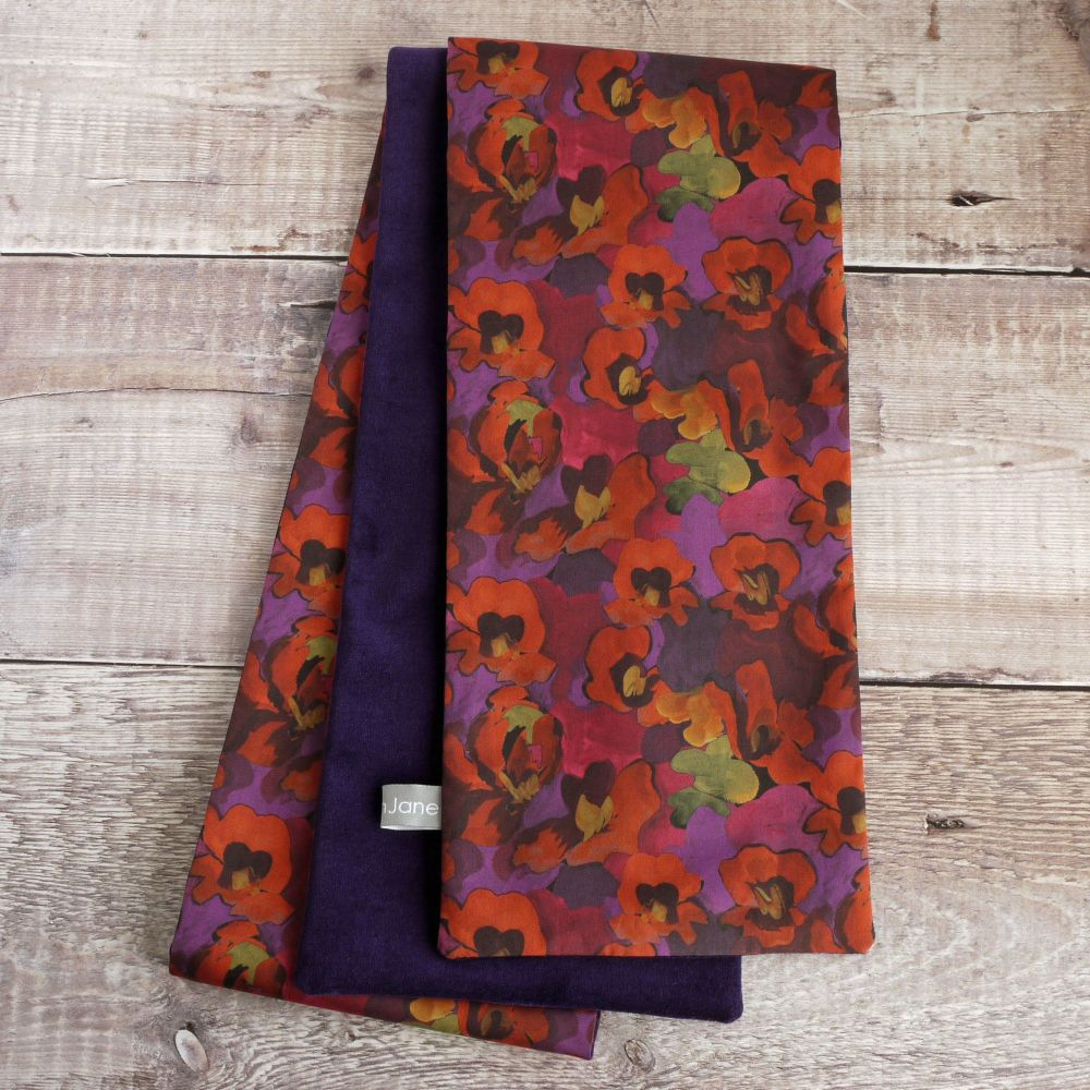 Purple velveteen and Liberty Jemma Rose Scarf