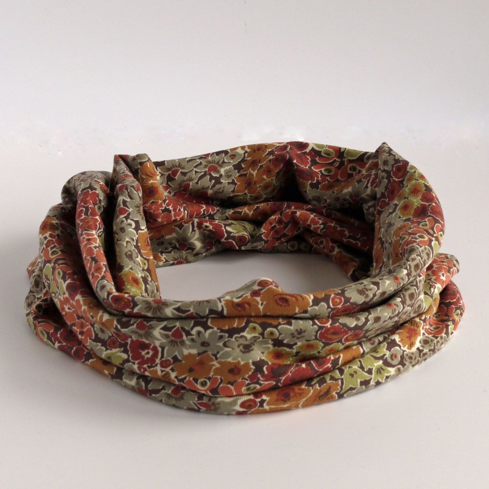 Jersey circle scarf - Garden Wonderland - made from Liberty fabric