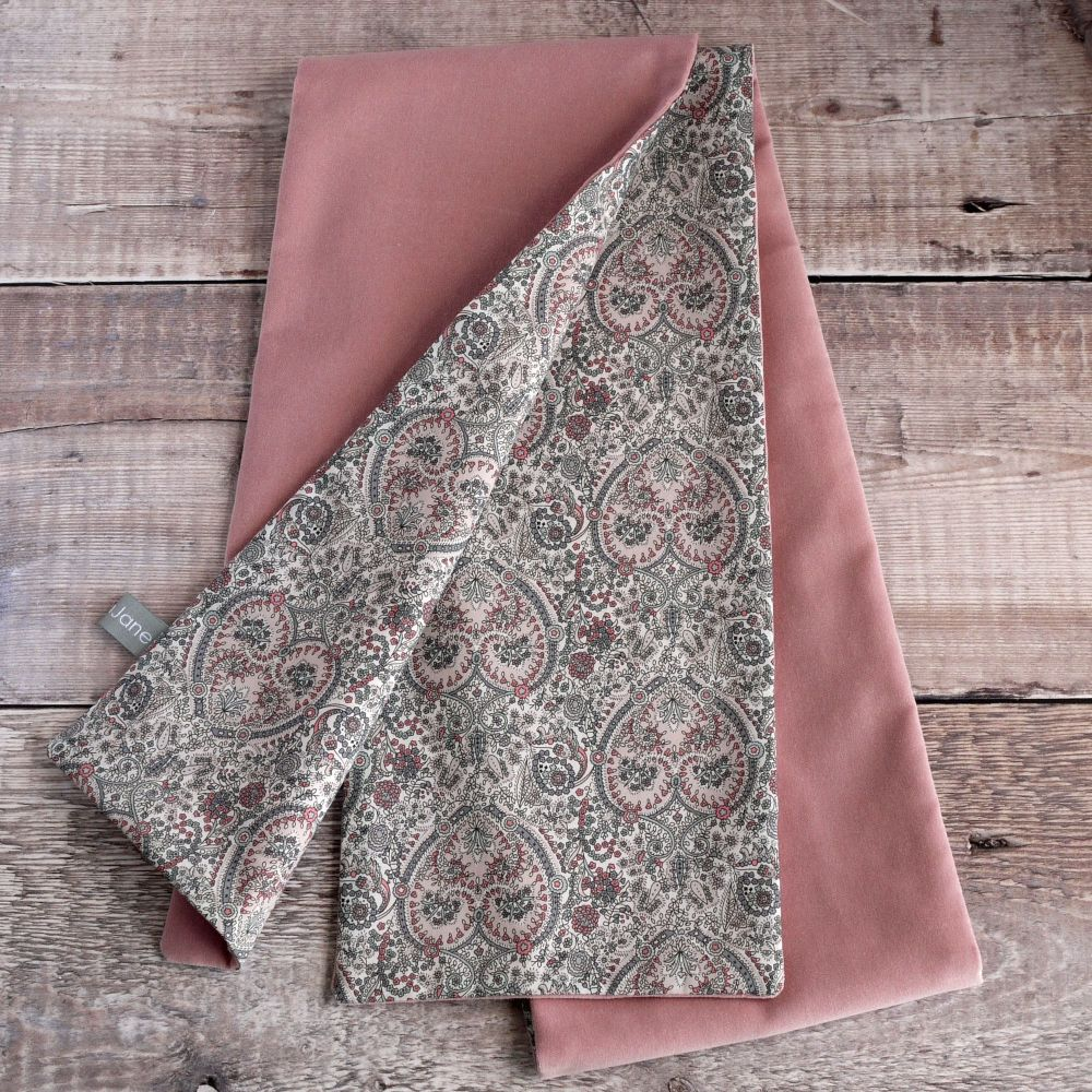 Dusty pink velvet and Liberty paisley scarf