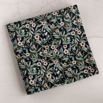 Blue floral pocket square - Liberty tana lawn Brighton Blossom