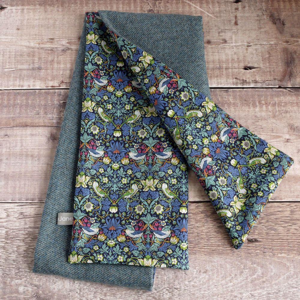 Soft blue tweed and Strawberry Thief scarf