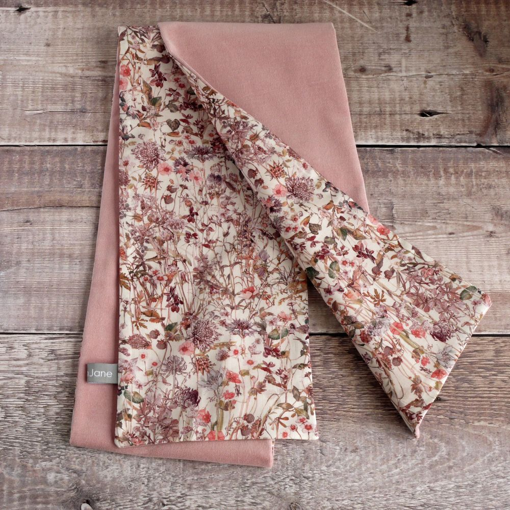 Dusty pink velvet and Liberty Wild Flowers scarf