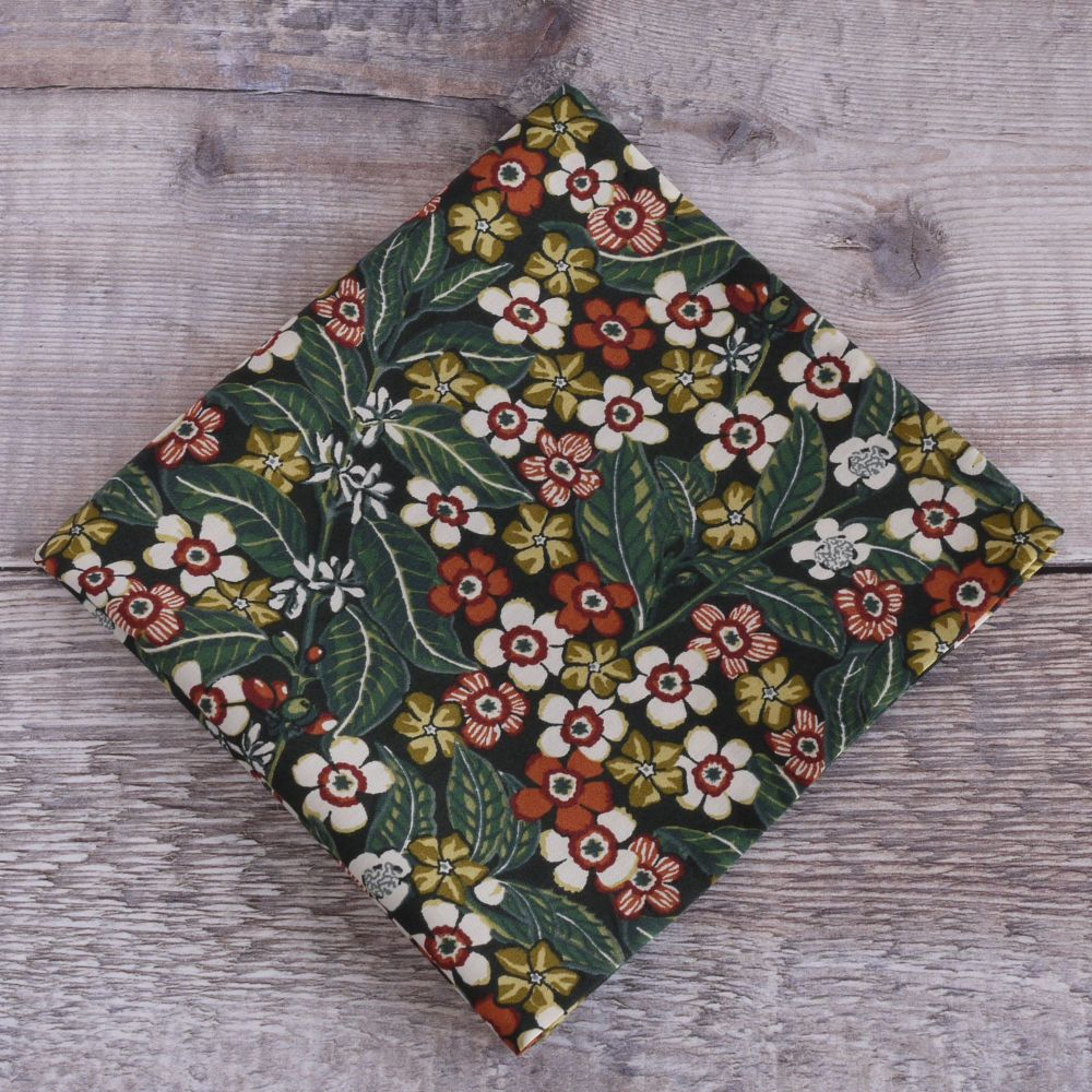 Green floral pocket square - Liberty tana lawn Sophie Jane