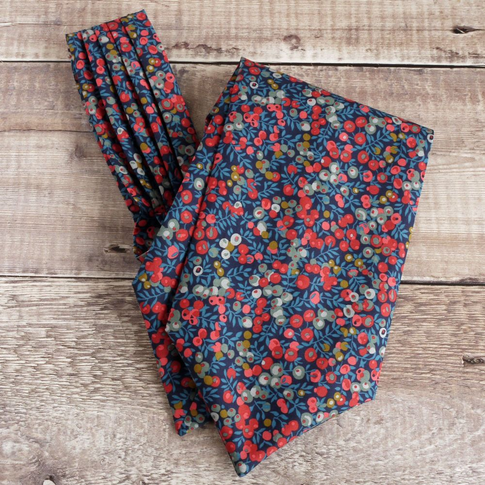 Wiltshire Berry blue floral cravat made with Liberty fabric