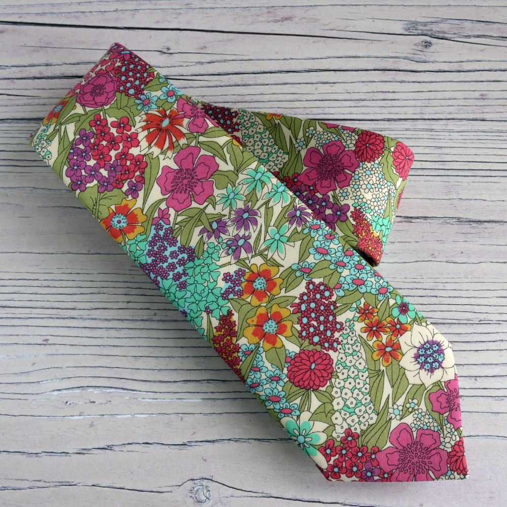 Custom order for 8 hand-stitched floral Liberty tana lawn ties with matchin